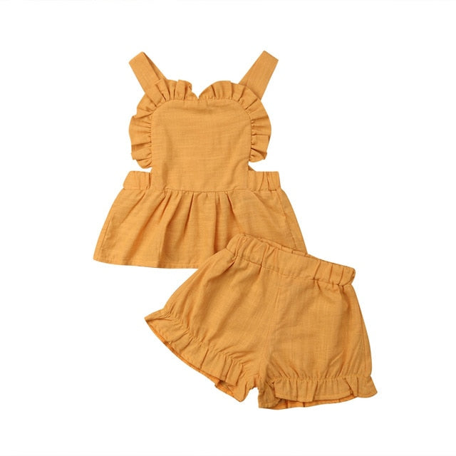 Fashion Ruffle Backless PCs Set