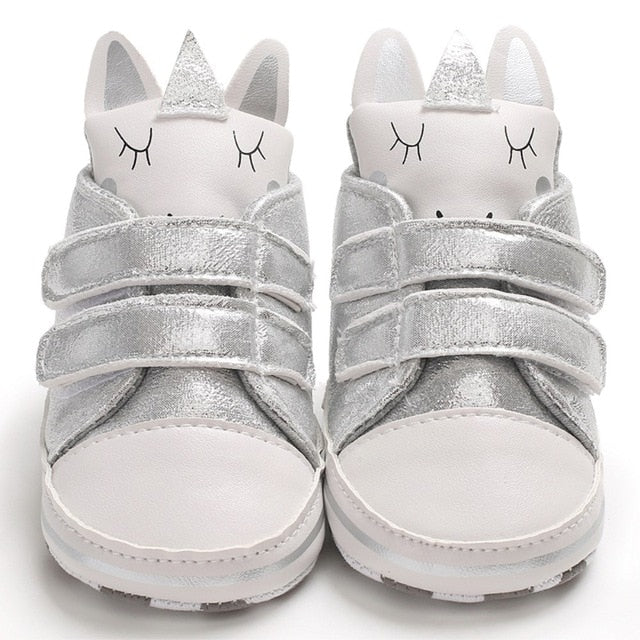 Glitter Leather Bunny Sneakers