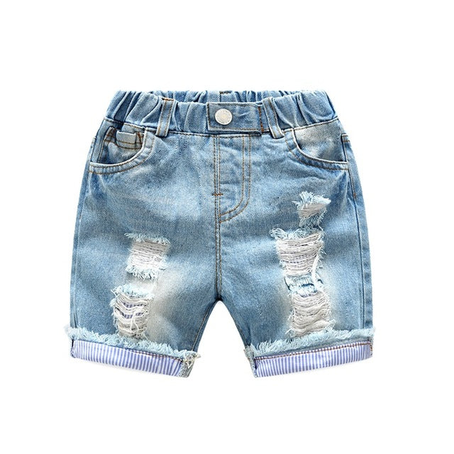 Cotton Holes Denim Short Pants