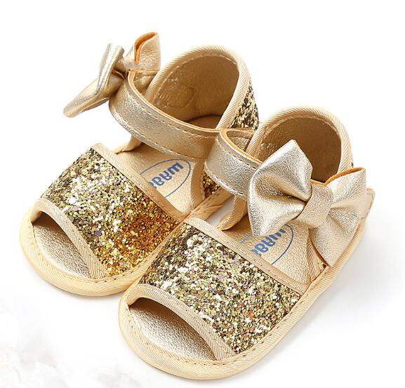 Glitter Soft Sole Crib Bow Sandals