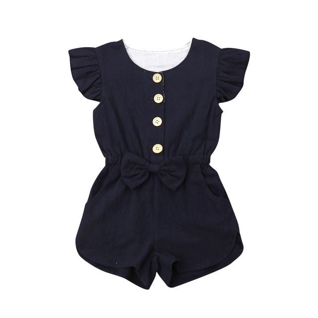Button Sleeveless Romper