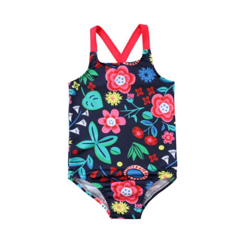 Cute Floral Cross Back Onepiece