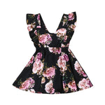 Backless Bandage Bow Floral Dress