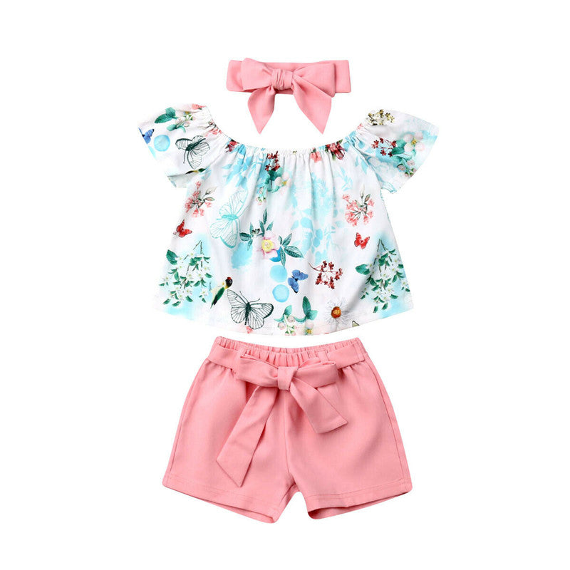 Butterfly Top T Shirt+ Shorts+ Headband 3Pcs Set