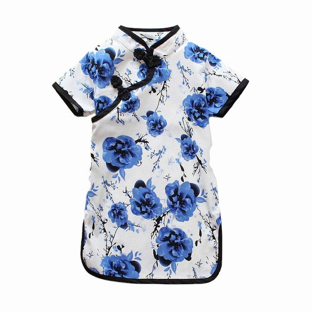 Mandarin Button Floral Dress