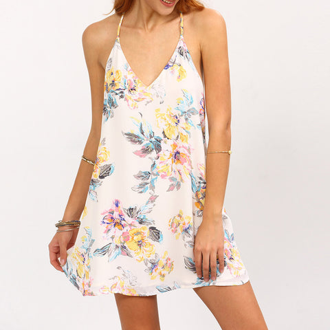 2017 Summer Dress Women Sexy Backless Flower Print Strappy Swing Cami Mini Dress Sleeveless White Beach Dresses