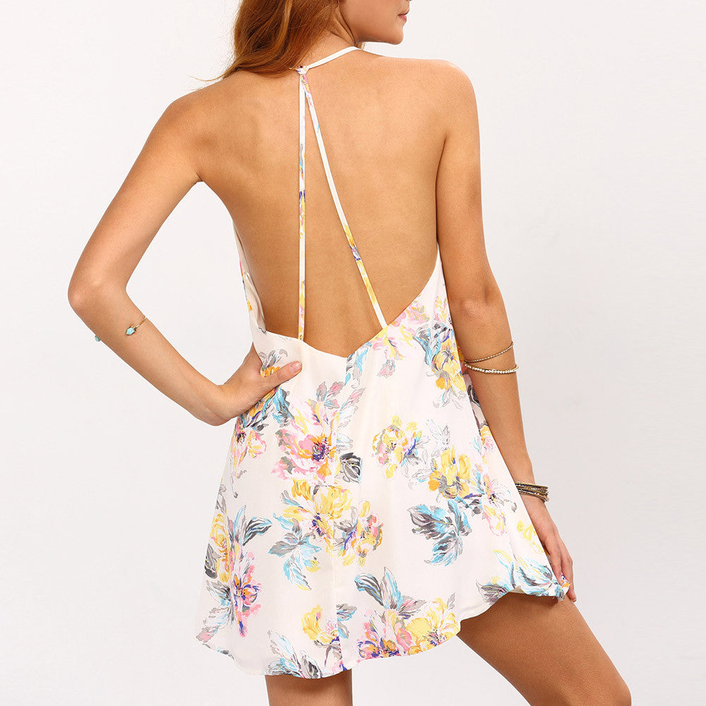 34d4bcde70 ... 2017 Summer Dress Women Sexy Backless Flower Print Strappy Swing Cami  Mini Dress Sleeveless White Beach