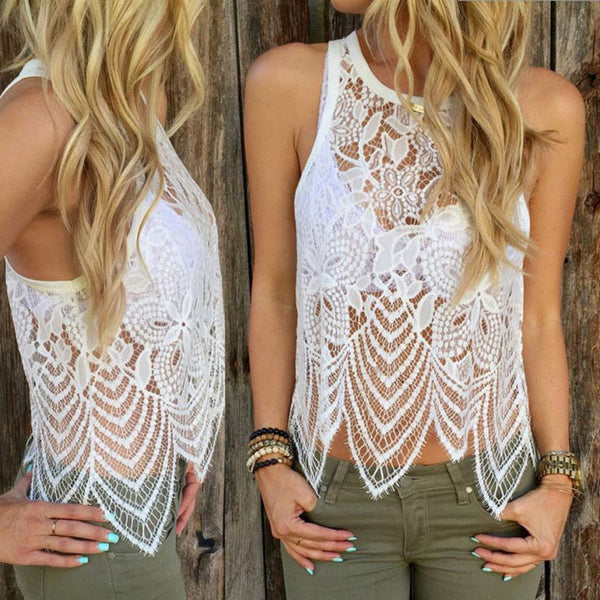 Tank Top Crochet Women Tops Elegant Fitness Flower Embroidery Lace Vest Fashion Summer Sleeveless Shirt Clothing