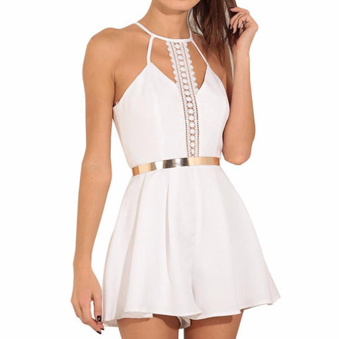 Women Dress 2017 Fashion White Dress New Solid Lace Sling Vest Rompers Ladies Clothes Mini Dress