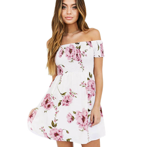 Off Shoulder Dress 2017 Fashion Women white Floral Printing Beach Casual Evening Party Mini Dress