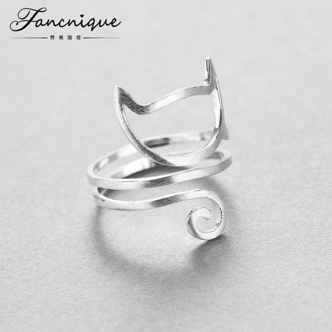 Silver Twine Cat Ring Young Girl Jewelry