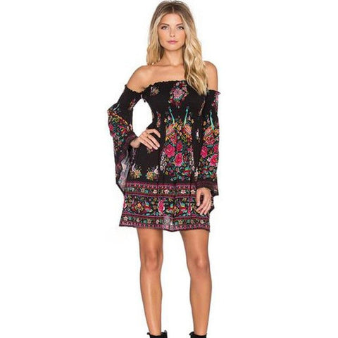 Bohemian Floral Print Women Dress Sexy Flare Sleeve Womens Casual Evening Party Mini Club Beach Dress Ladies Clothing Dresses