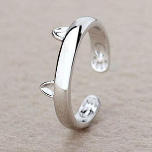 Silver coloured Cat Ear Ring Design Cute Fashion Jewelry Cat Ring For Women and Girl Gifts