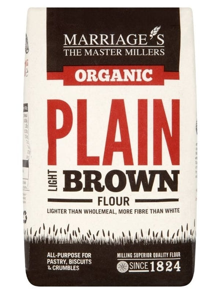Marriage`s Organic Plain Light Brown Flour 1kg