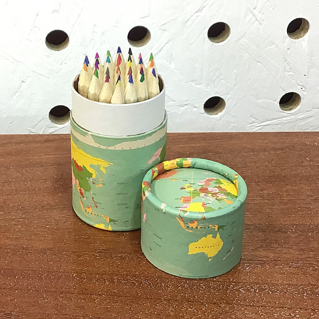 World Map Set of 36 Pencils