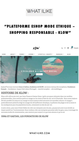What I Like - Klow : E-shop mode éthique