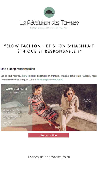 La Revolution des Tortues - Presse Klow - Where to shop for ethical and ecological clothes