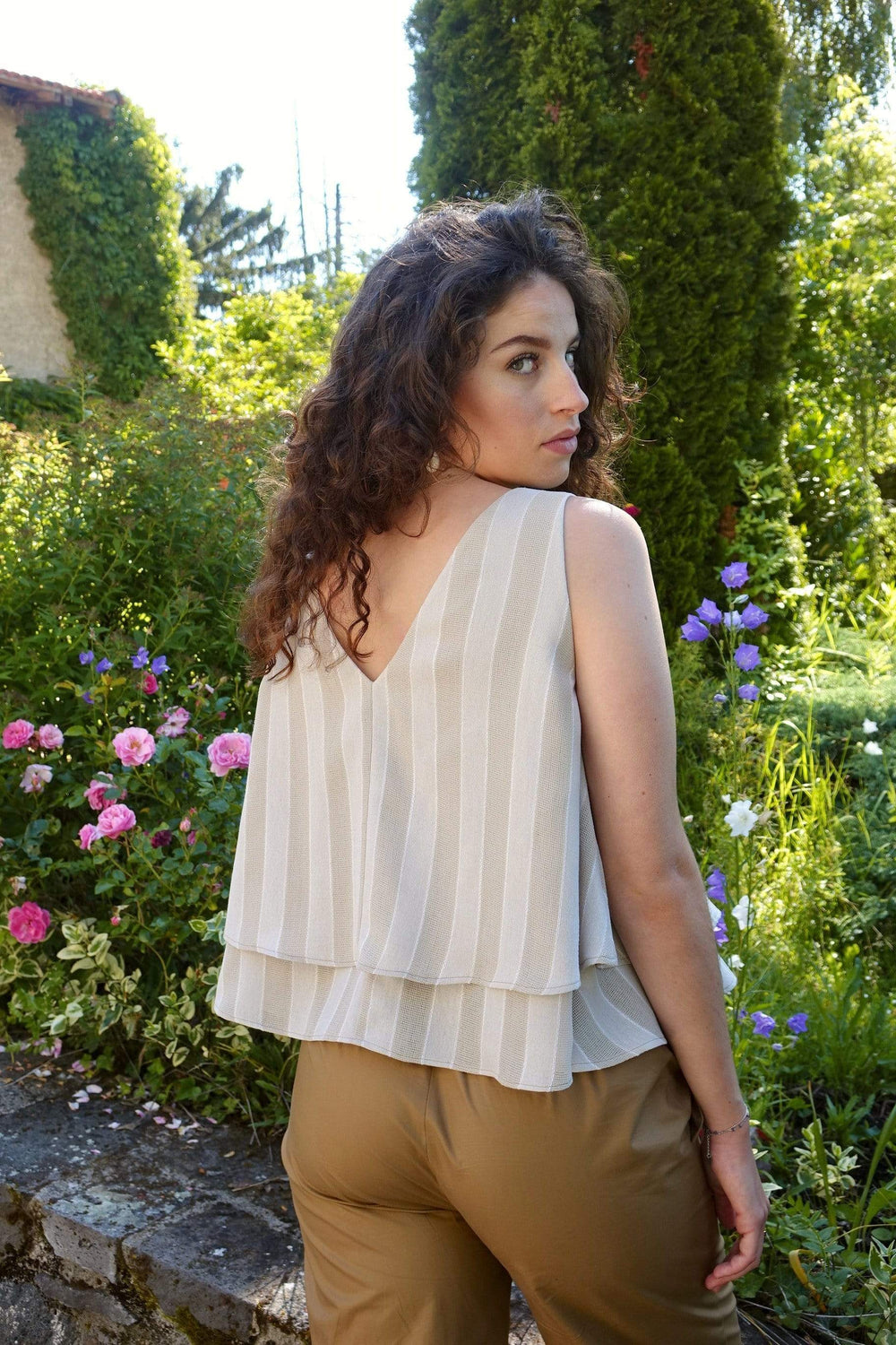 Maison ALFA Top TOP MELODIE BEIGE - COTON/POLYESTER UPCYCLES