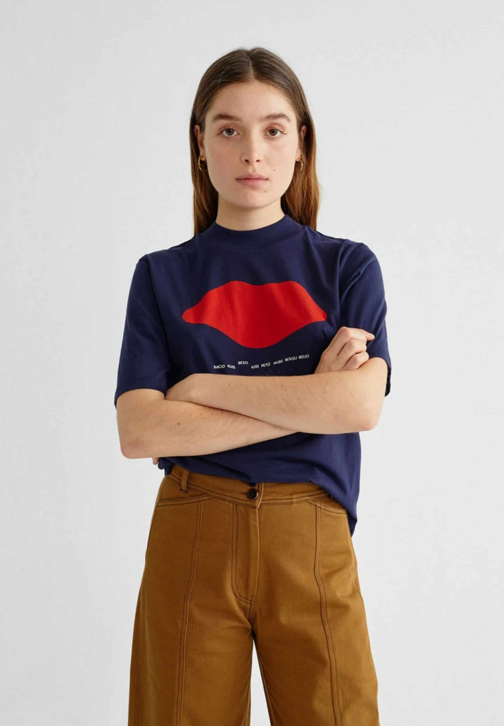 Thinking Mu T-shirts Beso navy mock t-shirt