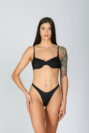 Zaira Top Deep Black: bikini top a balconcino nero