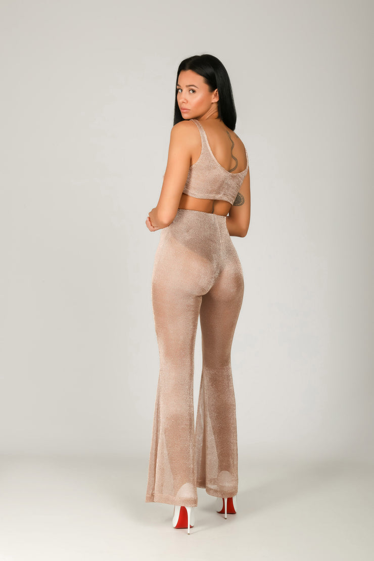 Rose Gold Flared Pants