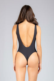 Dare To Bare One Piece: costume intero mare, bodysuit mare 1#color_black-ribbed