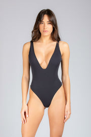 Dare To Bare One Piece: costume intero mare, bodysuit mare#color_black-ribbed