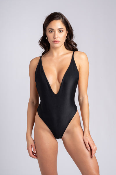 Savage One Piece:costume intero scollato, costume intero scollo a v 2#color_ribbed-black