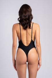 Savage One Piece:costume intero scollato, costume intero scollo a v 3#color_ribbed-black