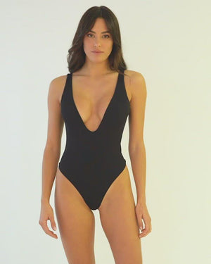 Dare To Bare One Piece Ribbed Black