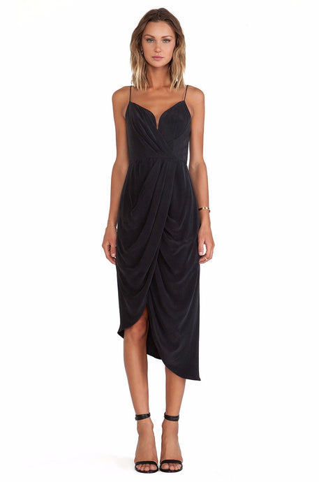 Rent Silk Plunge Maxi - Black - Hire Society