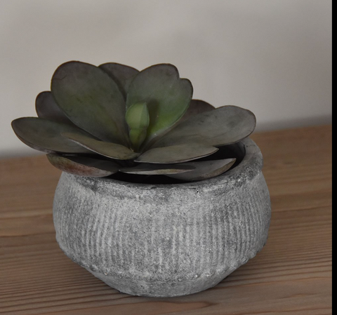 Ribbed Planter Grey Wash - Small