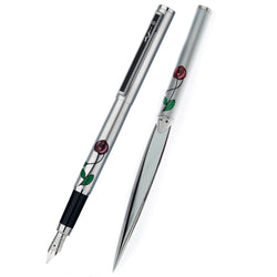 Mackintosh red rose fountain pen and letter opener set