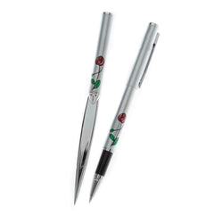 Mackintosh red rose rollerball pen and letter opener set