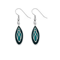Green Teardrop Celtic Knot Earrings