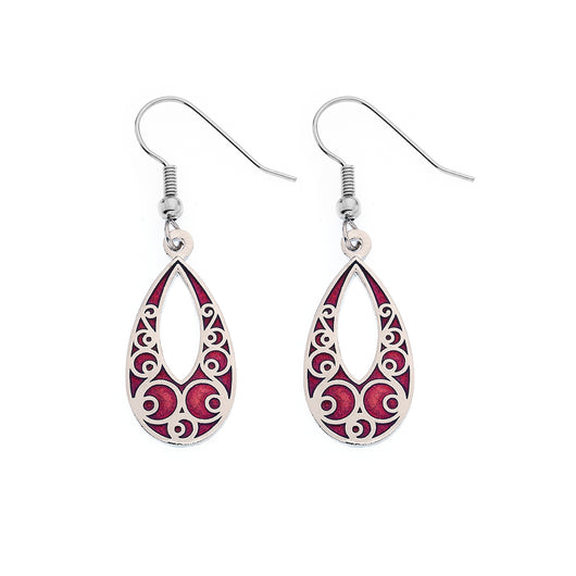 Red Teardrop Earrings with Circle Details