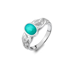 STERLING SILVER TURQUOISE RING WITH TRINITY KNOT DETAIL