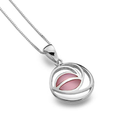 Photo of Sterling Silver Mackintosh rose with pink mother of pearl detail pendant