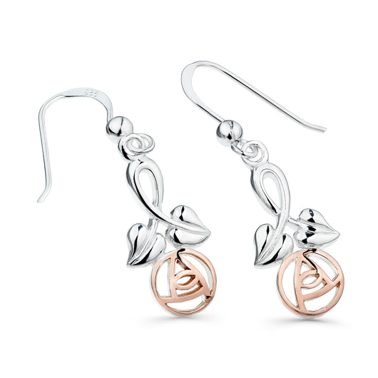 Mackintosh rose stem earrings