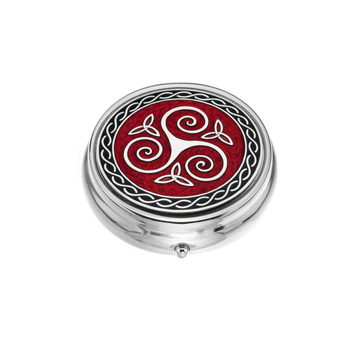 Triskele red enamel large pillbox