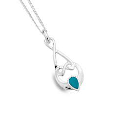 Turquoise love knot pendant
