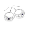 Amethyst trinity circle earrings