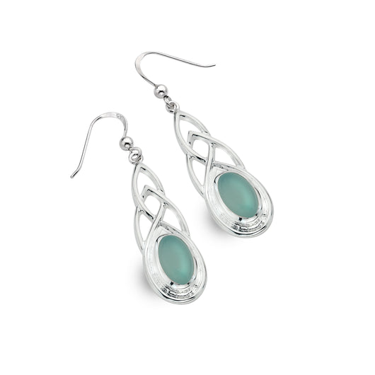 Blue chalcedony celtic earrings