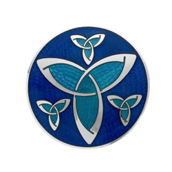 Brooches - Blue Celtic Trinity Knots Large Brooch