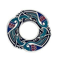 Brooches - Celtic Birds Large Blue Brooch