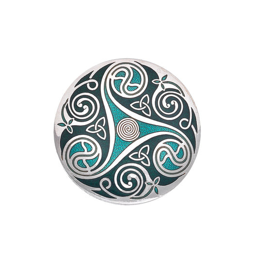 Brooches - Celtic Triskele Large Green Brooch