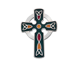 Brooches - Green Celtic Cross Brooch With Coloured Trinity Knots