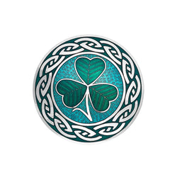 Brooches - Shamrock With Never Ending Knot Large Brooch