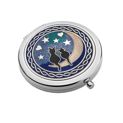 Compact Mirrors - Black Cats On The Moon Enamel Compact Mirror