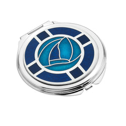 Compact Mirrors - Mackintosh Blue Rose And Lattice Enamel Compact Mirror
